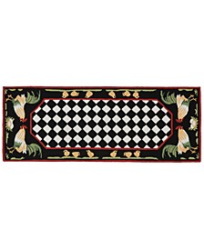 Liora Manne Frontporch Rooster Black and Gray 2' x 5' Runner Rug