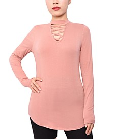 Juniors' Caged Mock-Neck Top