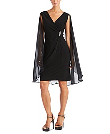 Embellished Chiffon Cape Dress