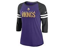 Minnesota Vikings Women's Three Quarter Sleeve Raglan Shirt