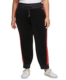 Plus Size Colorblocked Velour Jogger Pants With Micro-Tape Trim
