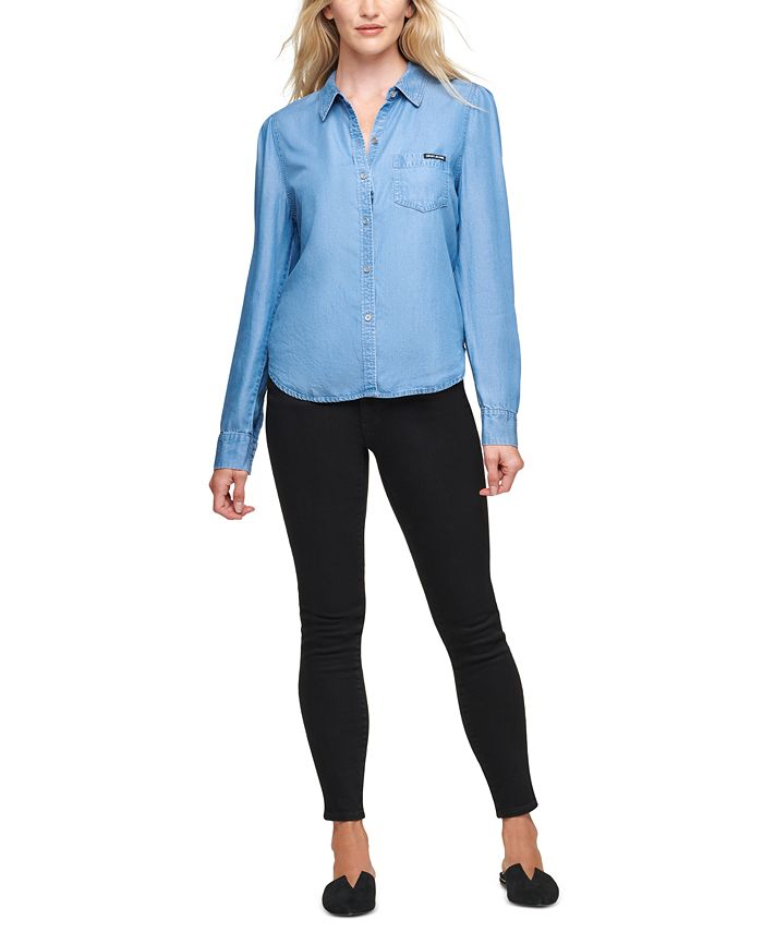 DKNY Jeans - Button-Front Roll-Tab-Sleeve Top