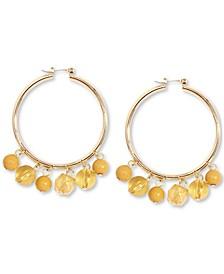 Gold-Tone Shaky Bead Hoop Earrings