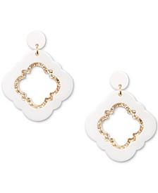 Gold-Tone Glitter-Trim Colored Quatrefoil Drop Earrings