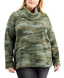 Plus Size Printed Fleece Sweater, Created for Macy's