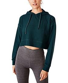 Women's Rib Cropped Hooded Sweatshirt