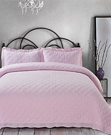 Ruffle Trim Cotton Gauze King Quilt Set