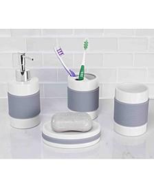 Bath Accessory 4 Piece Set with Rubber Grip