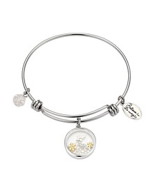 "Two-Tone ""Believe In The Magic"" Reindeer Shaker Adjustable Bangle Bracelet with Silver Plated Charms"