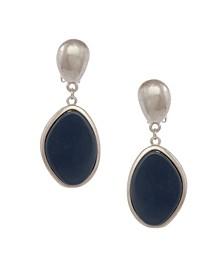 Silver-Tone Oval Drop Clip Earrings