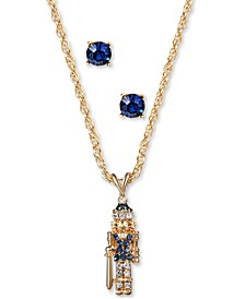 Gold-Tone Crystal Nutcracker Pendant Necklace & Stud Earrings Set, Created for Macy's