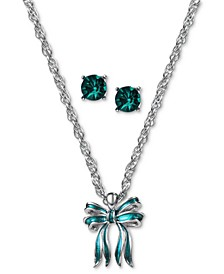 Silver-Tone Bow Pendant Necklace & Crystal Stud Earrings Set, Created for Macy's