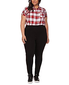 Plus Size Contrast Side-Tape Leggings