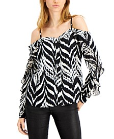 Ikat-Print Cold-Shoulder Blouse, Created for Macy's