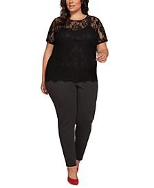 Plus Size Cutout-Back Lace Top