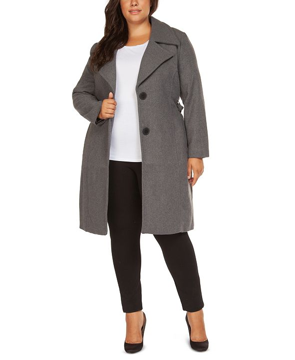 Black Tape Plus Size Belted Coat