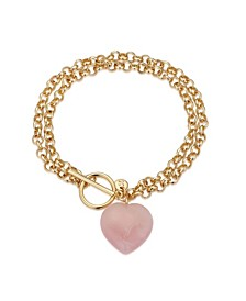 Fine Silver Plated Genuine Rose Quartz Heart Toggle Chain Link Bracelet in Gold