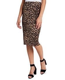 Petite Leopard-Print Midi Pencil Skirt