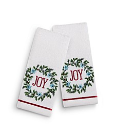 "Joy Wreath 2-Pc. 11"" x 18"" Fingertip Towel Set, Created for Macy's"