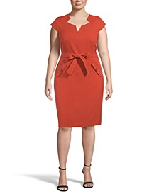 Plus Belted Sheath Dress