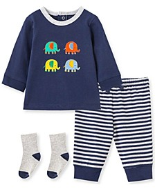 Little  Me Baby Boy Elephant Jogger Set and Sock