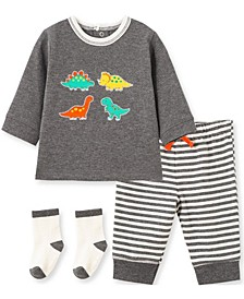 Little  Me Baby Boy  Dino Jogger Set and Sock