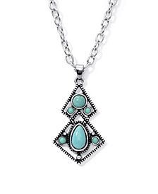 Simulated Turquoise in Fine Silver Plated Diagonal Pendant Necklace