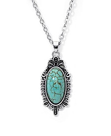 Simulated Turquoise in Fine Silver Plated Oval Pendant Necklace