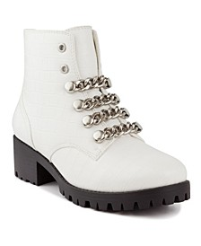 Women's Obvi Chain-Lace Combat Booties