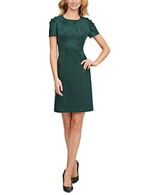 Scuba-Crepe Faux-Suede A-Line Dress