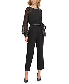 Chiffon-Sleeve Faux-Leather-Trim Cropped Jumpsuit