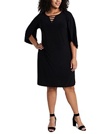 Plus Size Split-Sleeve Shift Dress