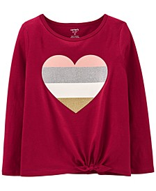 Big Girl Glitter Heart Tie-Front Jersey Tee