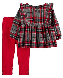 Baby Girl 2-Piece Plaid Flannel Top & Pant Set