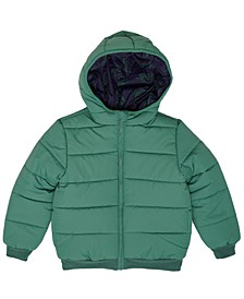 Little Boys Dinosaur Graphic Hooded Full Zip Reversible Puffer Jacket