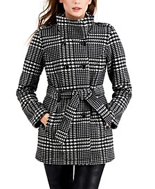 Juniors' Plaid Double-Breasted Microfleece Belted Coat