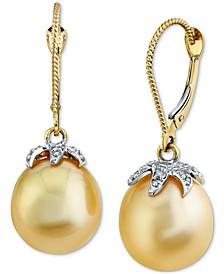 Cultured Golden South Sea Pearl (11mm) & Diamond (1/8 ct. t.w.) Drop Earrings in 14k Gold