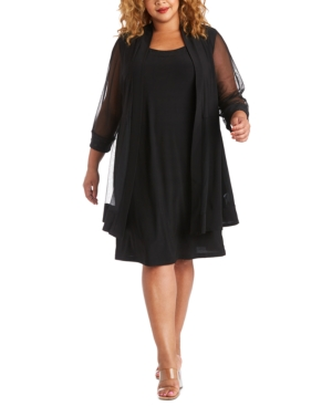 R & M Richards Plus Size Embellished Dress & Jacket-Part shimmer, part sheer, completely chic: this sleek plus size dress and jacket set from R & M Richards is embellished with elegance.