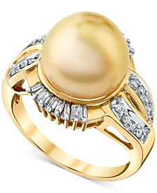 Cultured Golden South Sea Pearl (11mm) & Diamond (3/8 ct. t.w.) Ring in 14k Gold