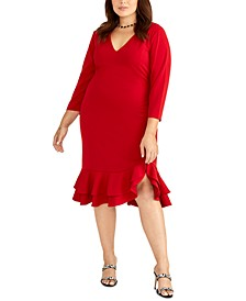 Trendy Plus Size Tiered Ruffled Sheath Dress