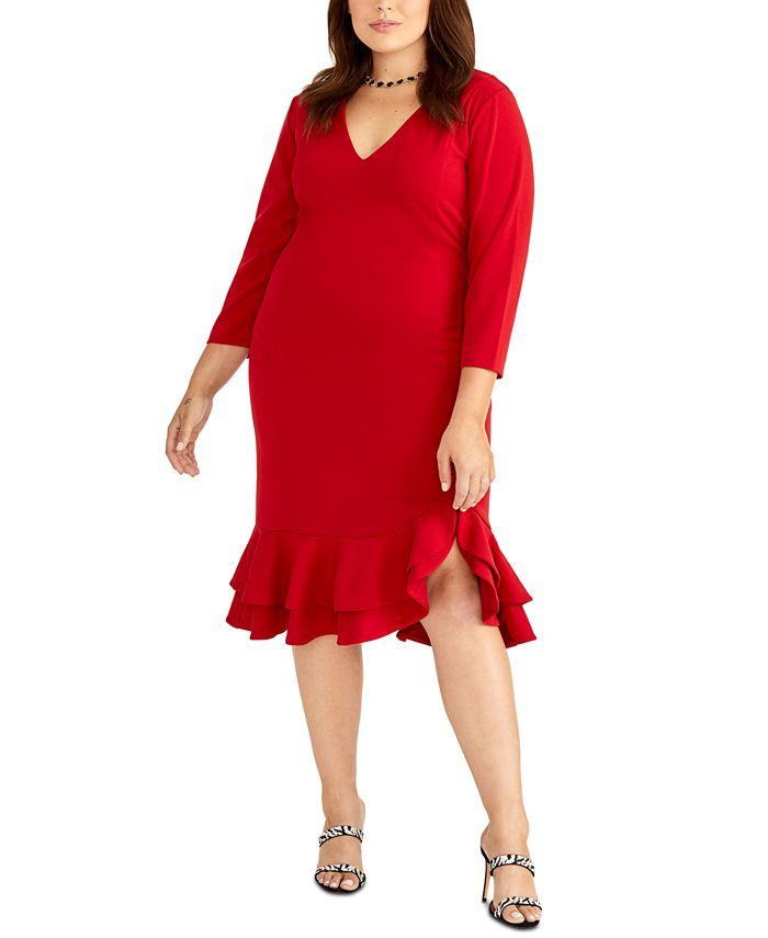 RACHEL Rachel Roy - Plus Size Tiered Ruffled Sheath Dress