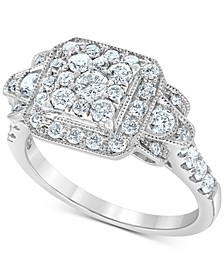 Diamond Square Cluster Ring (1 ct. t.w.) in 14k White Gold