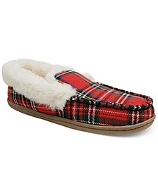 Women's Plaid Faux-Fur Slippers, Created for Macy's