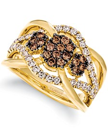 Chocolate Diamond (1-1/20 ct. t.w.) & Nude Diamond (5/8 ct. t.w.) Openwork Ring in 14k Gold