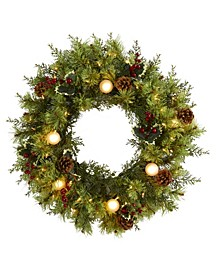 Christmas Artificial Wreath with 50 Warm Lights, 7 Globe Bulbs, Berries and Pine Cones