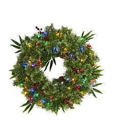 Mixed Pine Artificial Christmas Wreath with 50 LED Lights, Berries and Pine Cones