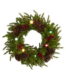 Christmas Artificial Wreath with 50 Lights, 7 Globe Bulbs, Berries and Pine Cones