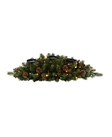 Flocked and Glittered Artificial Christmas Triple Candelabrum with 35 Lights and Pine Cones