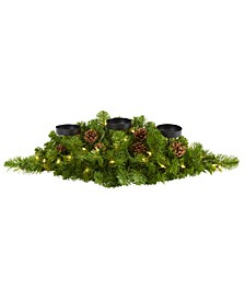 Christmas Artificial Pine Triple Candelabrum with 35 Clear Lights and Pine Cones