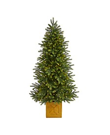 Manchester Fir Artificial Christmas Tree in Decorative Planter with 350 Clear Warm Multifunction LED Lights and 504 Bendable Branches